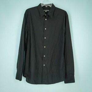 John Varvatos L Black Button Front Cotton Shirt
